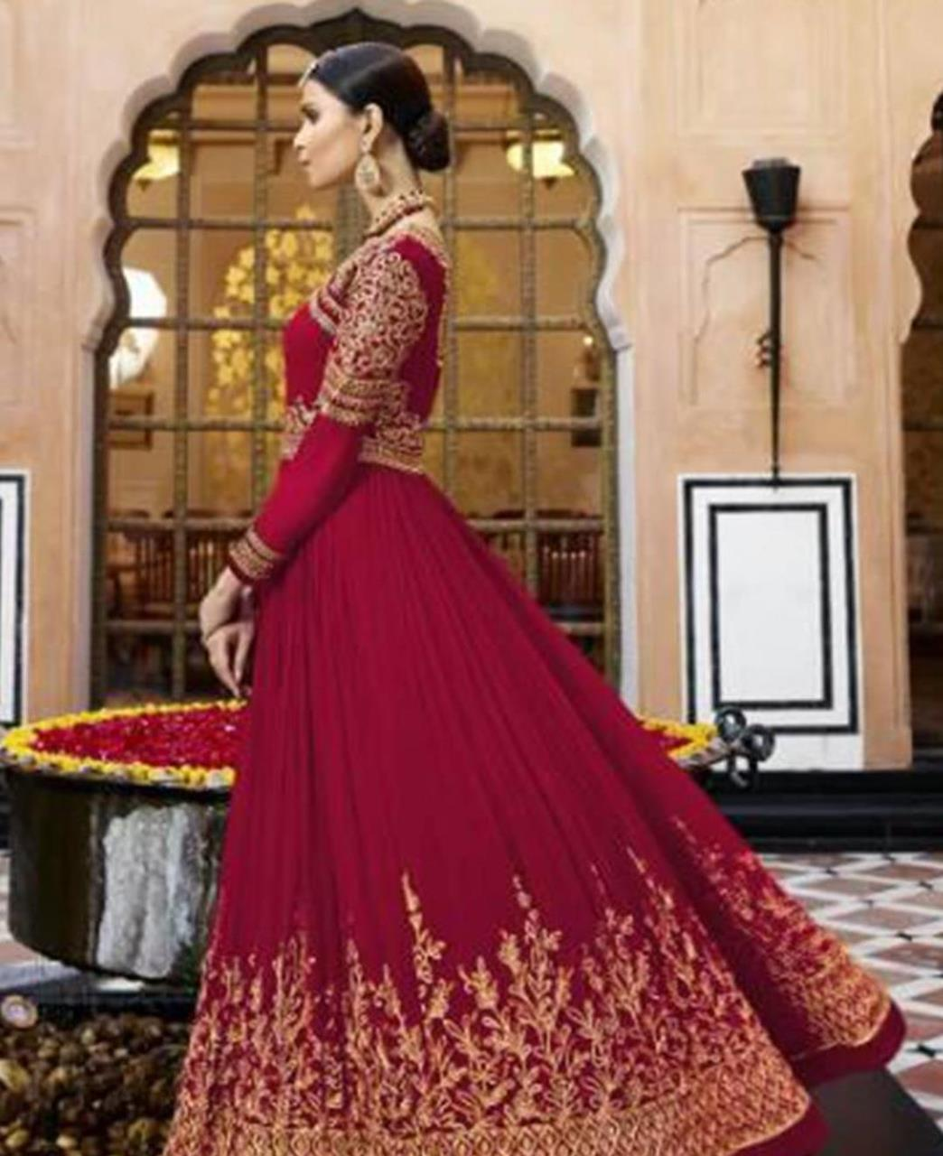 Embroidered Georgette Abaya Style Salwar in Rani