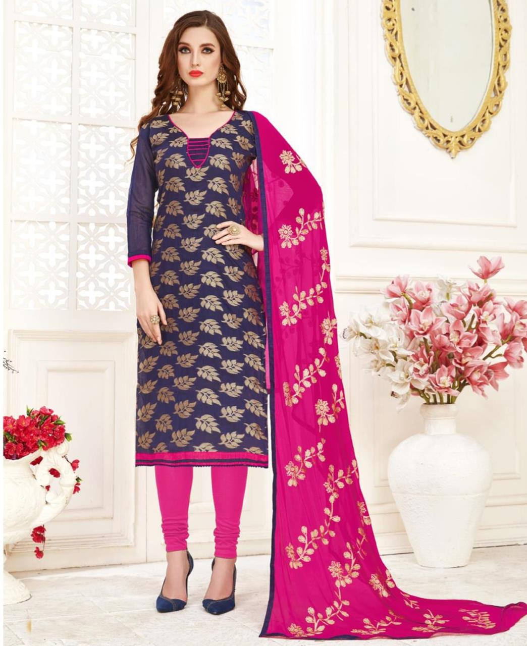 Embroidered Banarasi Silk Navyblue Straight Cut Salwar