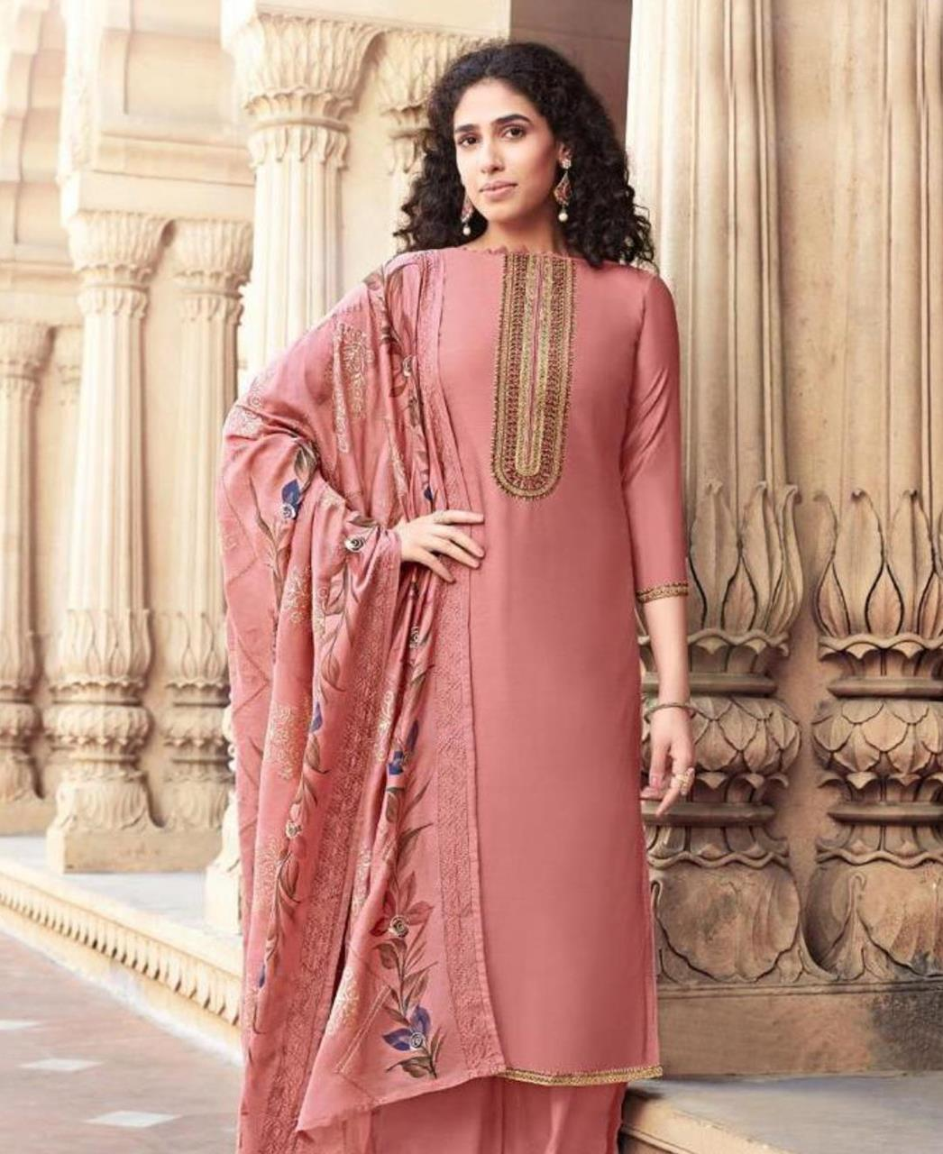Embroidered Cotton Straight cut Salwar Kameez in Pink