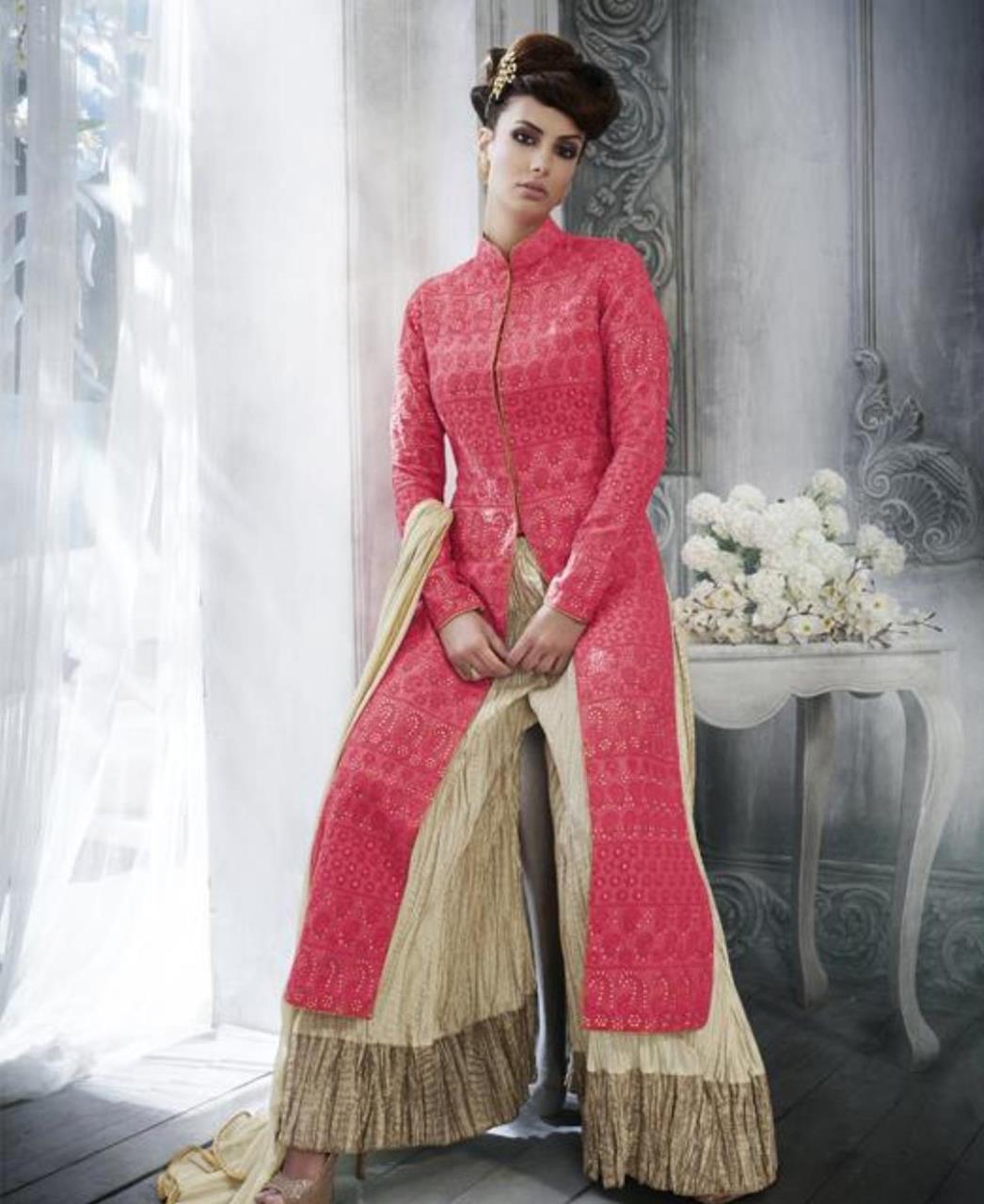 Stone Work Silk Straight cut Salwar Kameez in Red