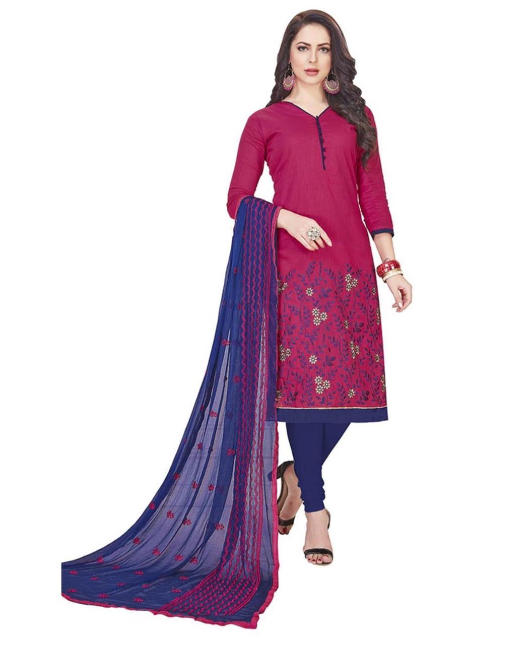 Embroidered Cotton Magenta Straight Cut Salwar