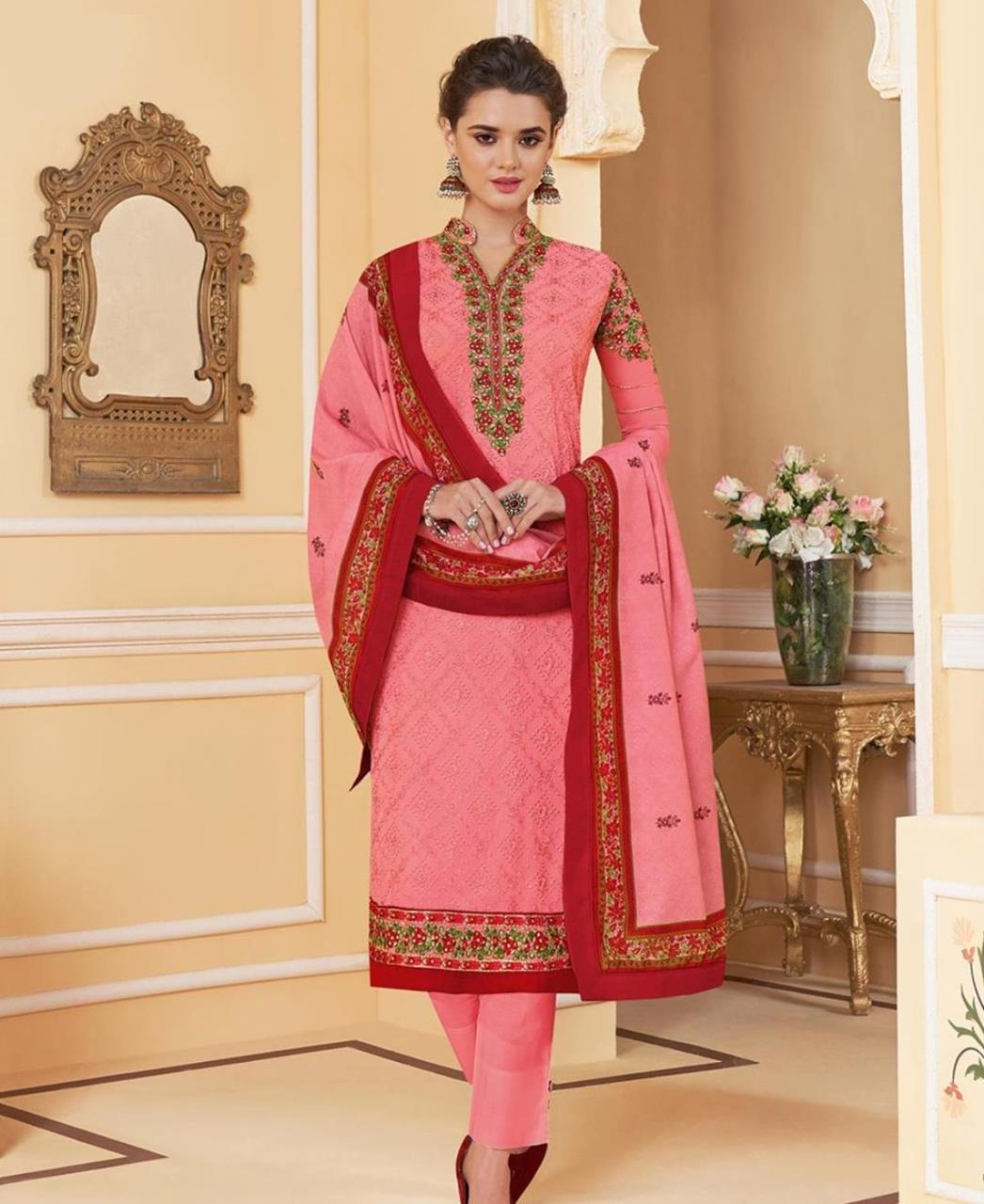 Embroidered Faux Georgette Pink Straight Cut Salwar