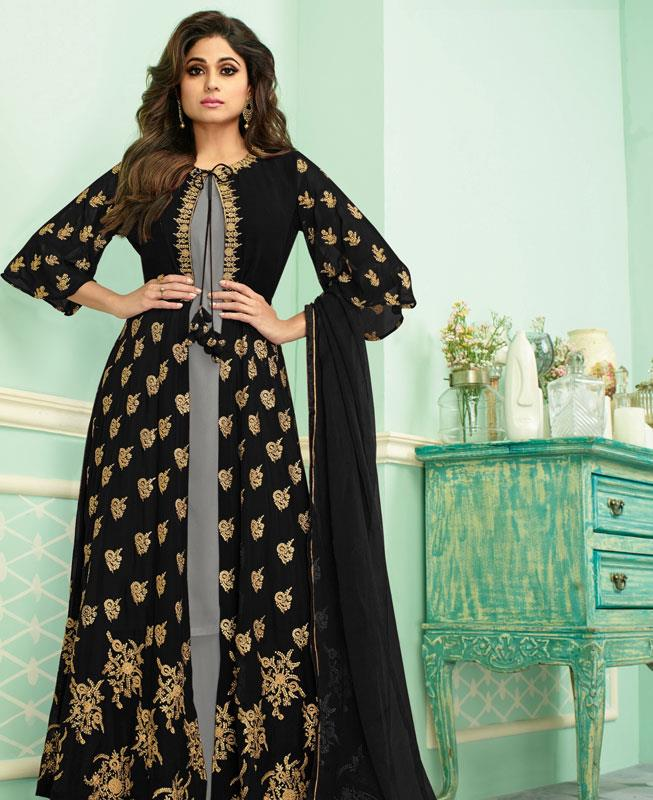Embroidered Georgette Abaya Style Salwar in Grey