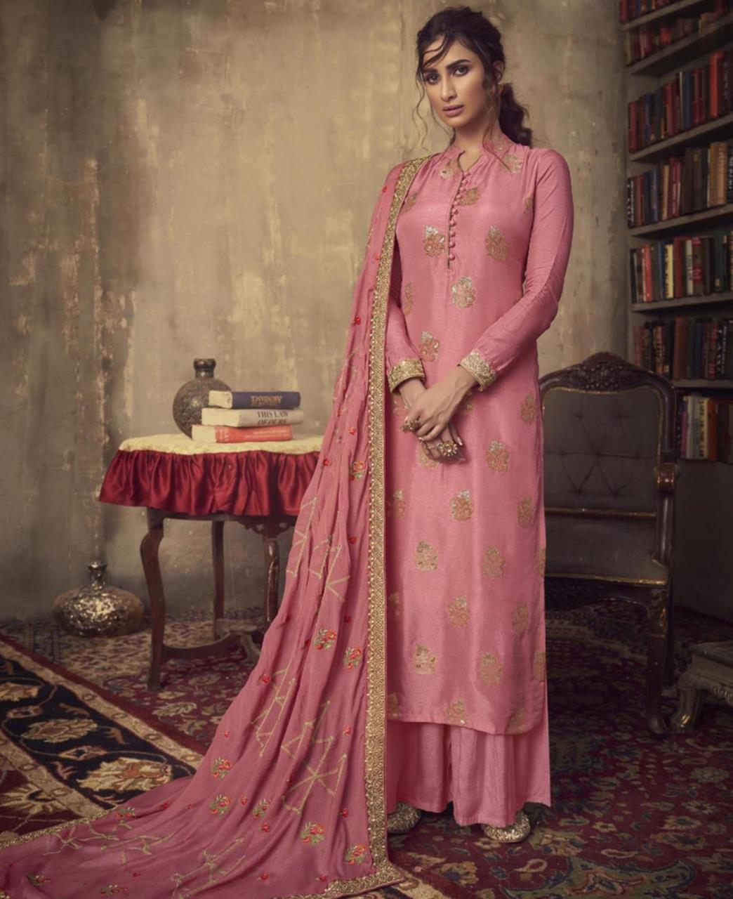 Stone Work Jacquard Straight cut Salwar Kameez in Light Pink