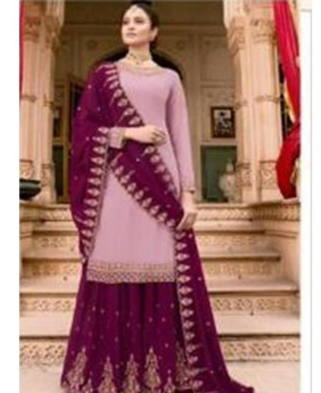 Embroidered Georgette Mistyrose Palazzo Suit Salwar