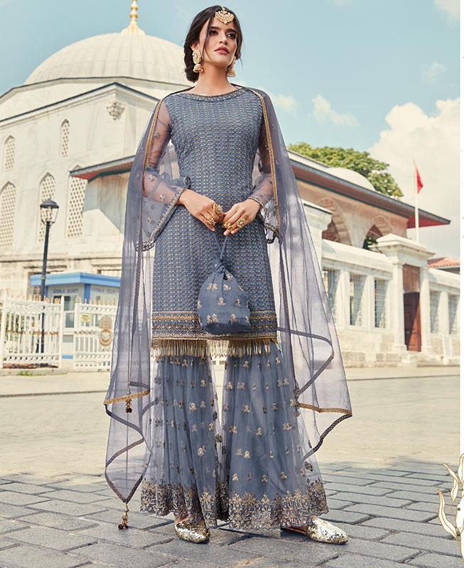 Thread & Zari Work on Net Abaya Style Salwar in Blue