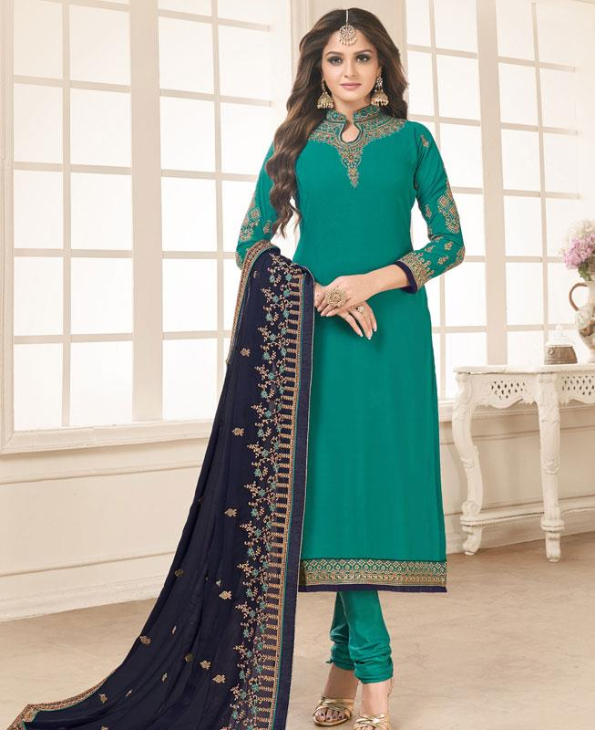 Embroidered Faux Georgette Green Straight Cut Salwar