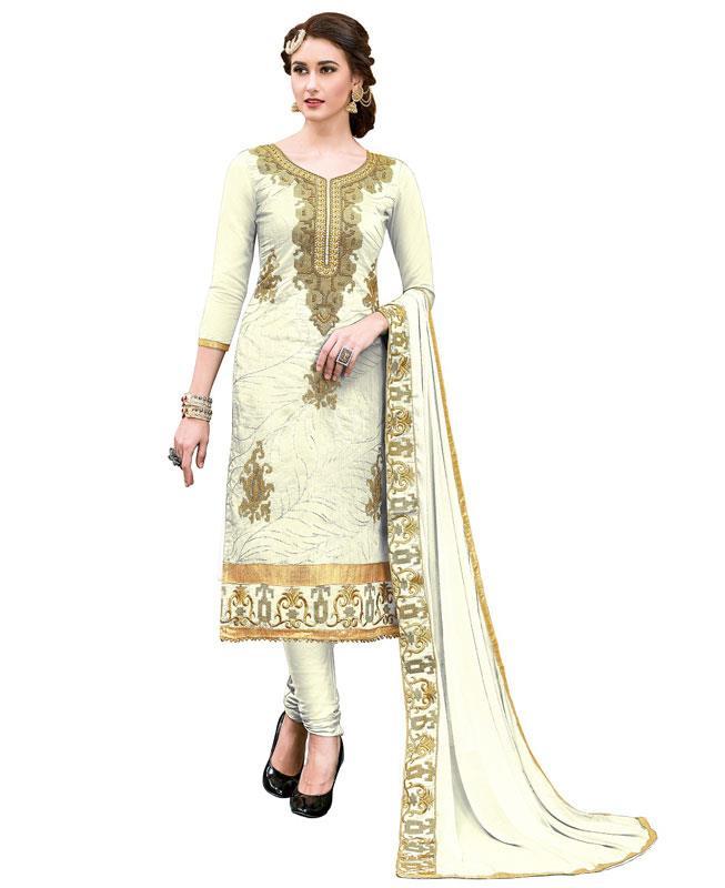 Embroidered Chanderi White Straight cut Salwar
