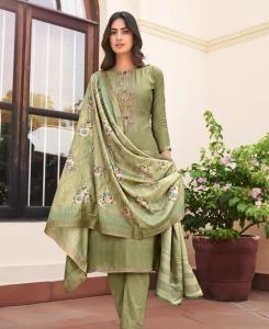 Printed Cotton Straight cut Salwar Kameez in Sea Green