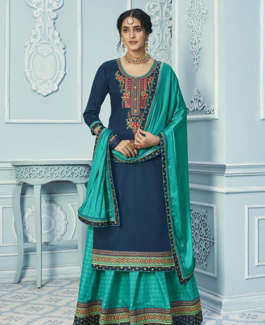 Embroidered Cotton Straight cut Salwar Kameez in Teal Blue