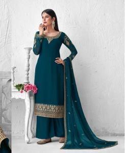 Zari Georgette Straight cut Salwar Kameez in Nevy Blue
