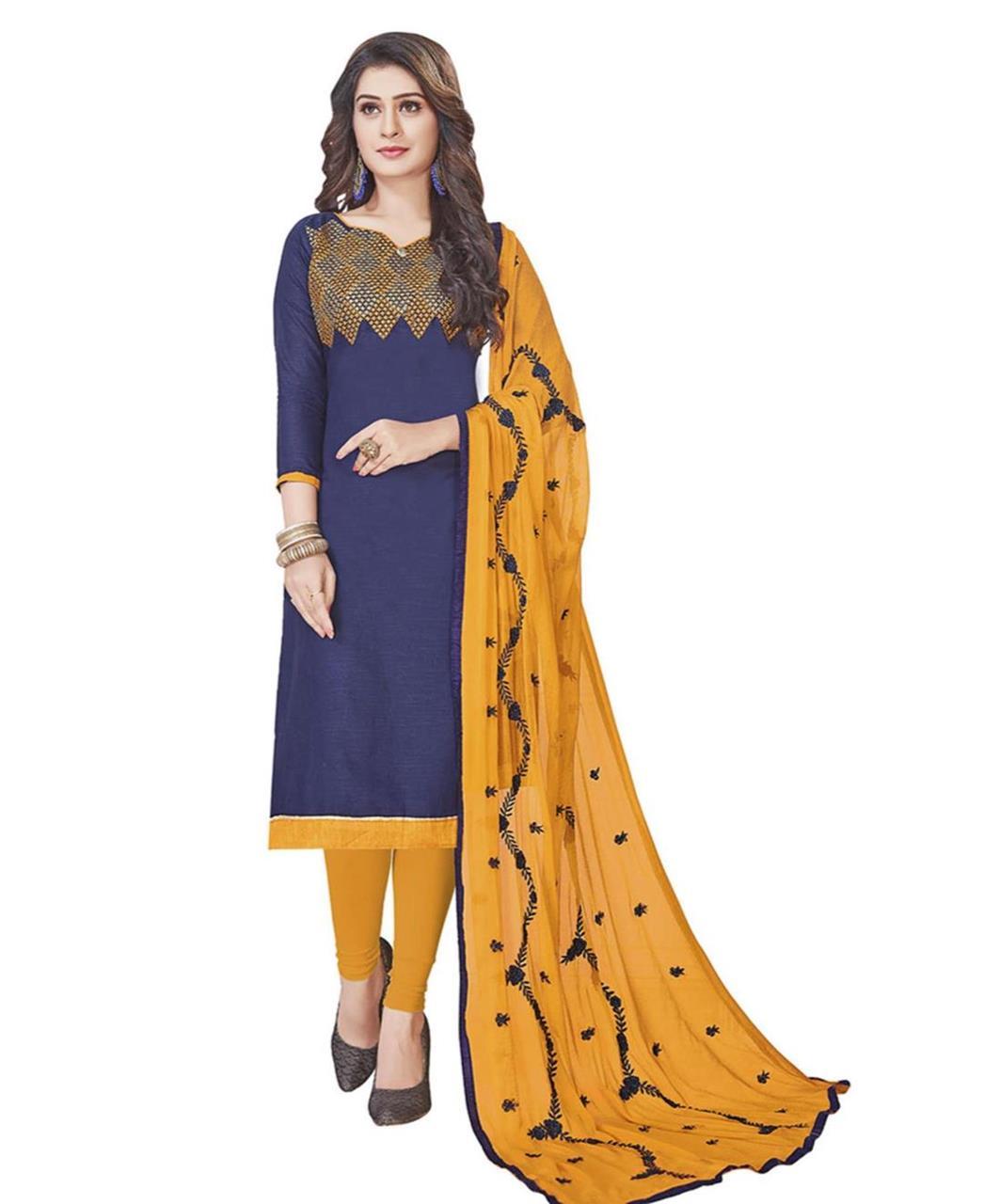 Embroidered Cotton Navyblue Straight Cut Salwar