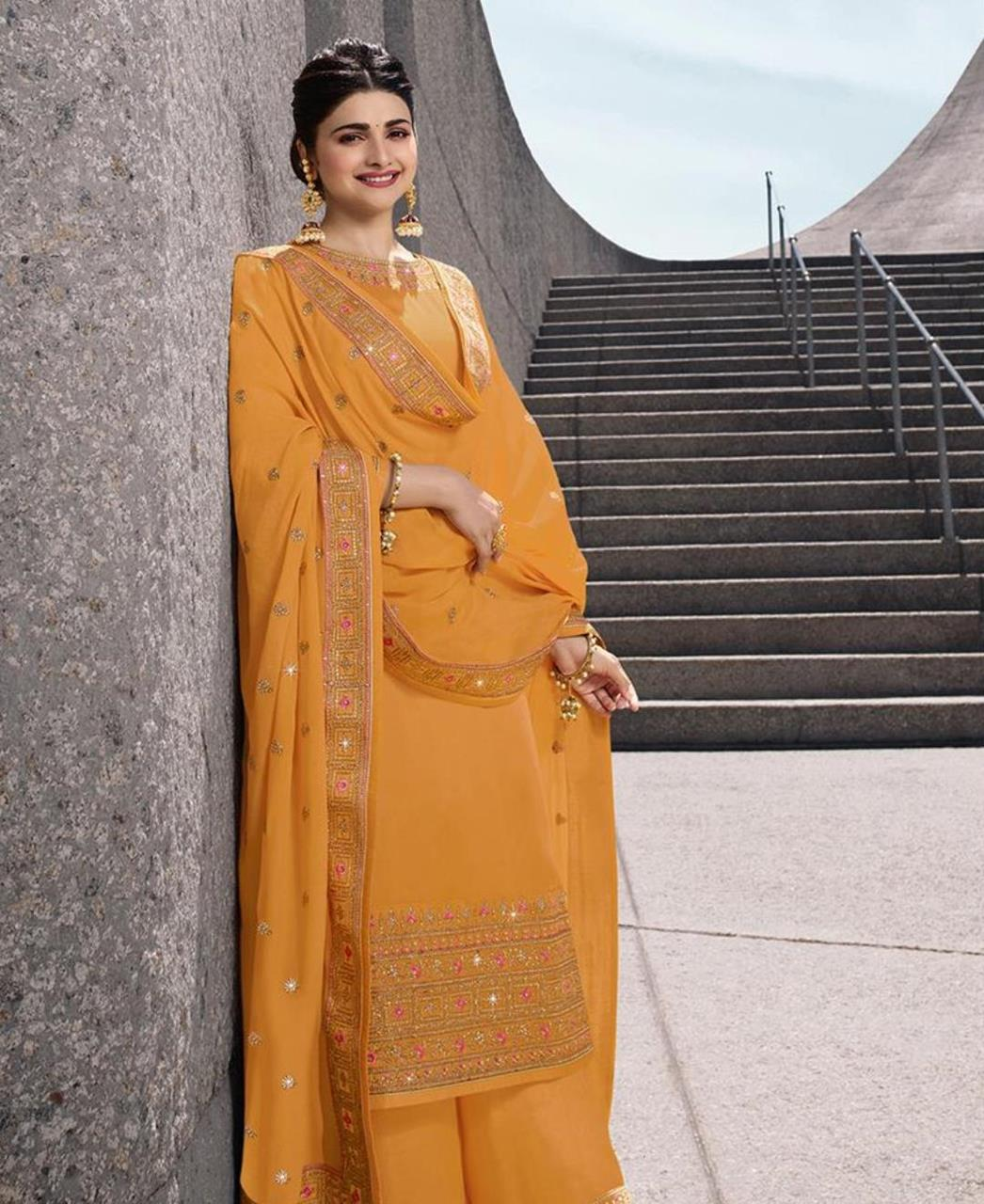 Resham Georgette Straight cut Salwar Kameez in Yellow