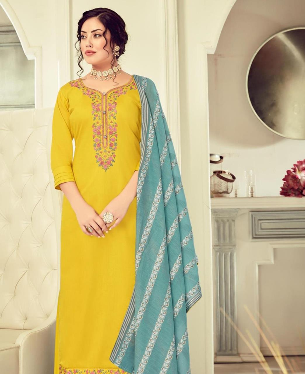HandWorked Cotton Straight cut Salwar Kameez in Lemon Yellow