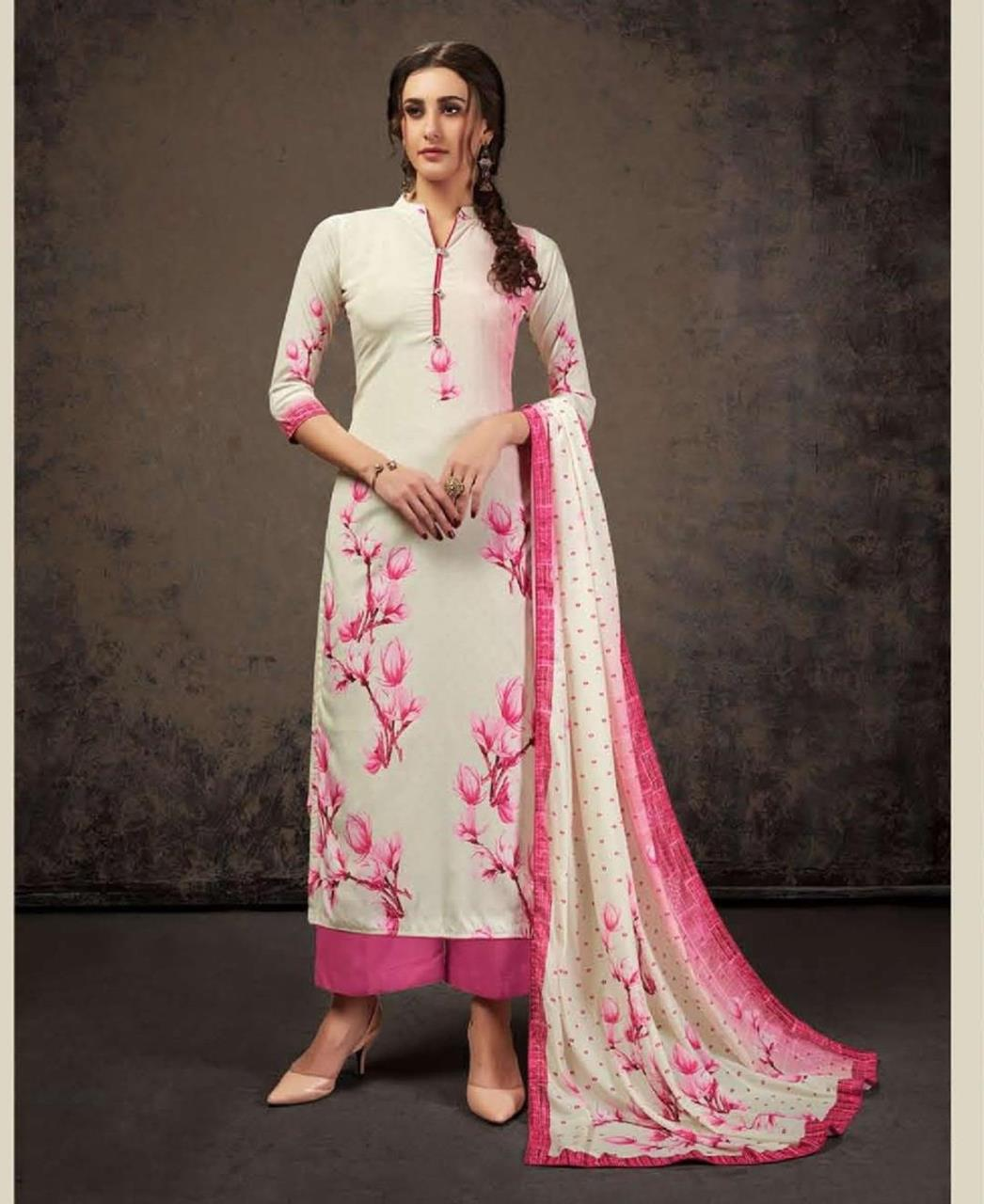 Printed Silk Straight cut Salwar Kameez in Off-White