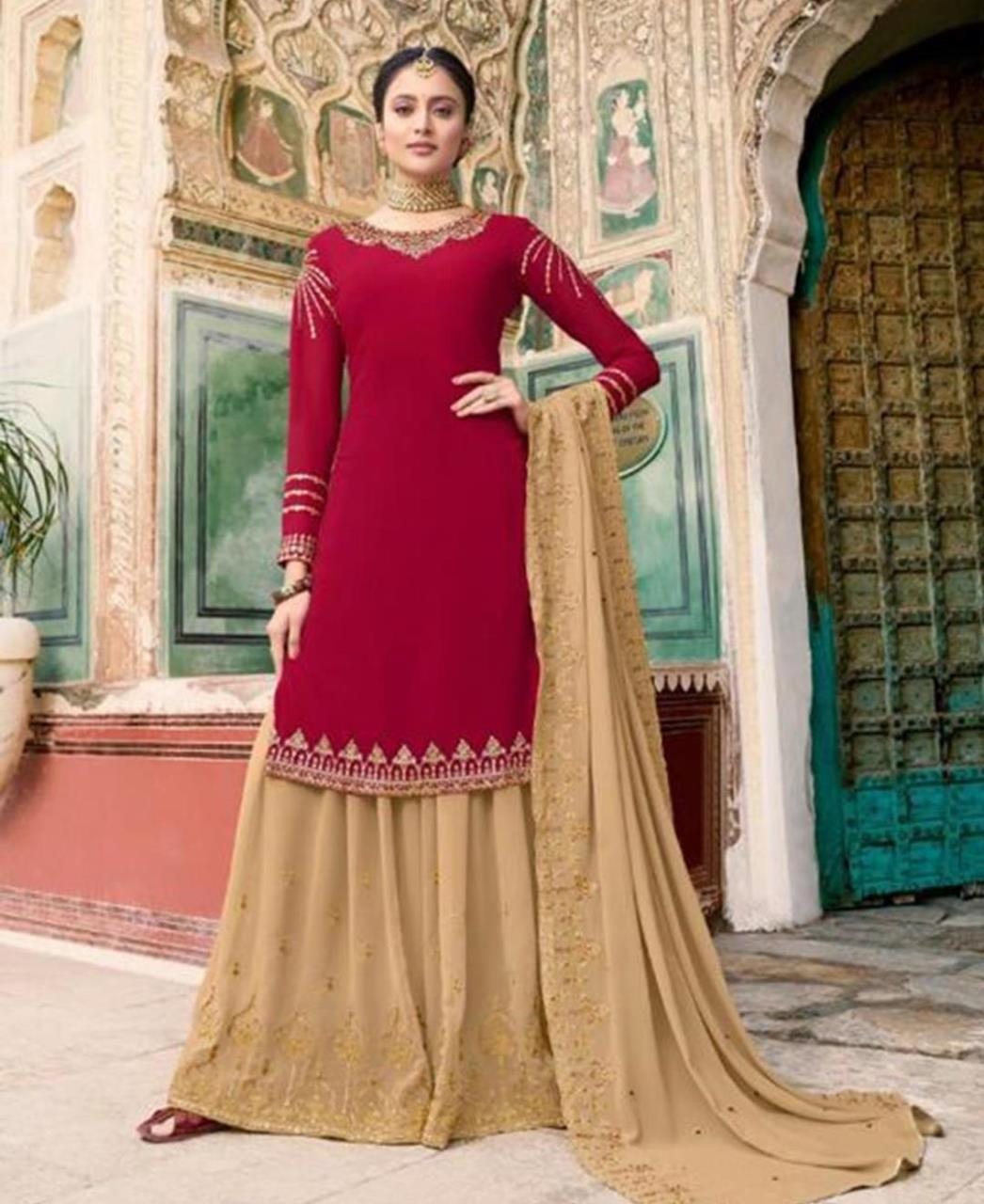 Embroidered Georgette Fuchsia Palazzo Suit Salwar