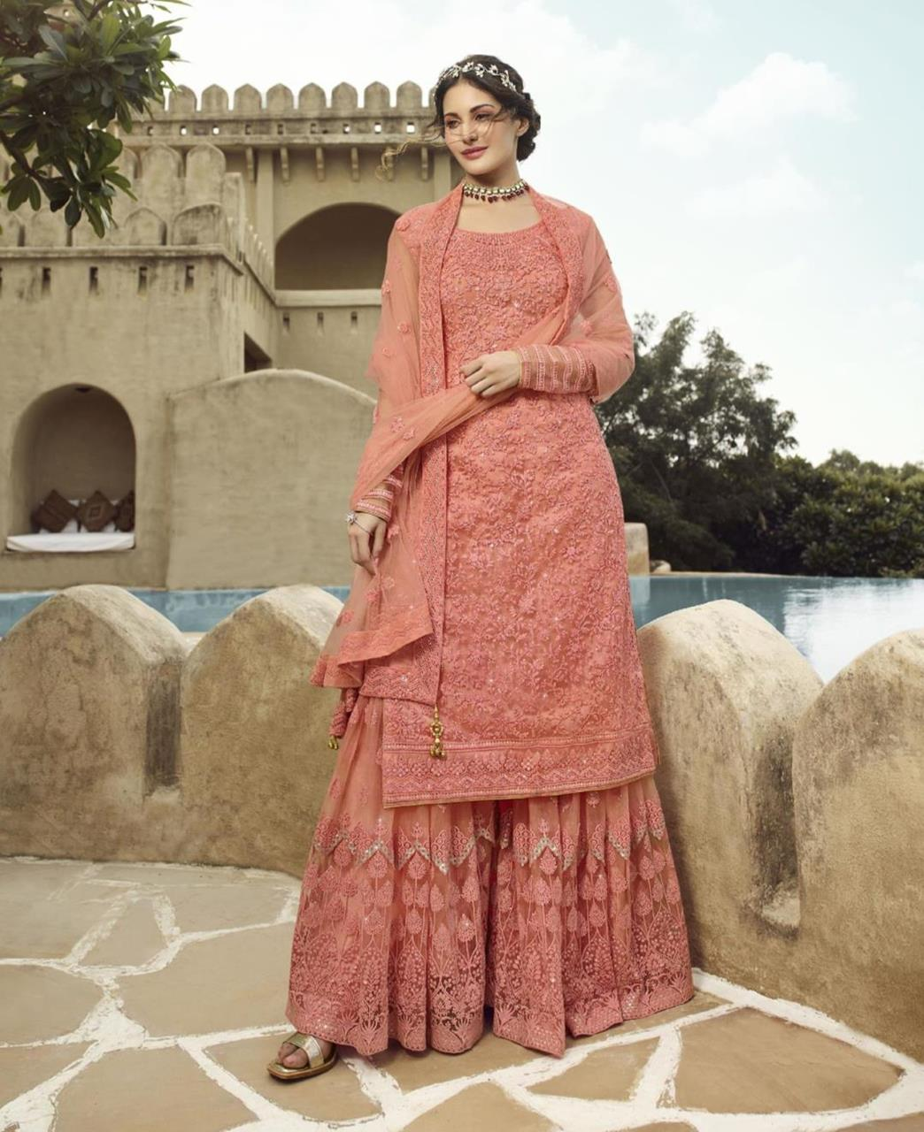 HandWorked Net Abaya Style Salwar in Peach