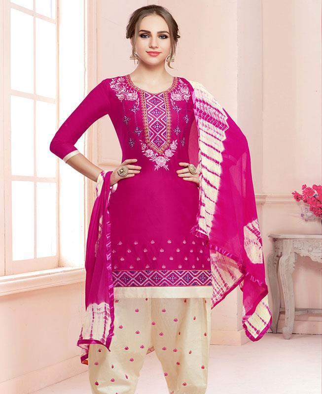 Embroidered Cotton Pink Patiyala Salwar