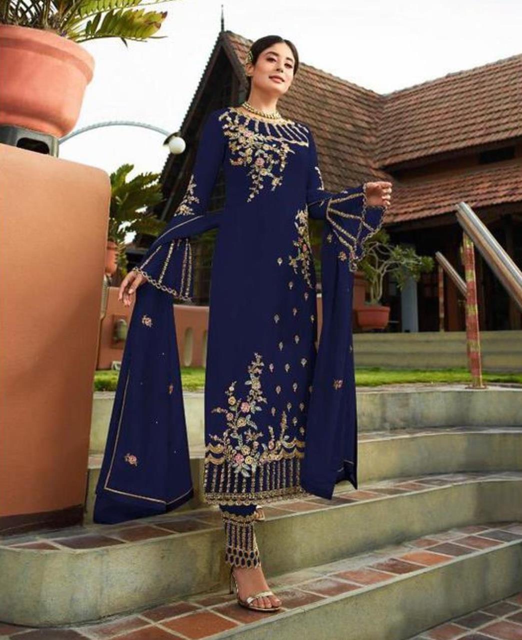 Georgette Straight cut Salwar Kameez in Neavy Blue