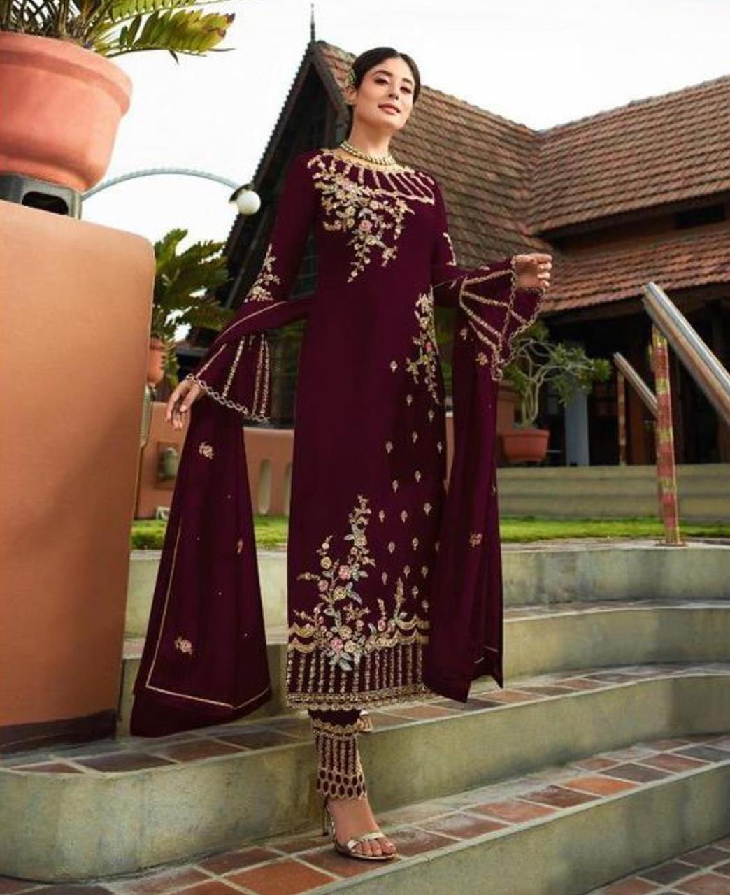 Georgette Straight cut Salwar Kameez in Dark Maroon