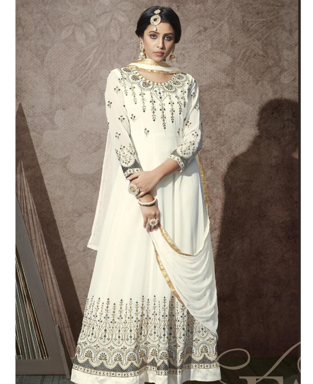 Stone Work Georgette Abaya Style Salwar in White