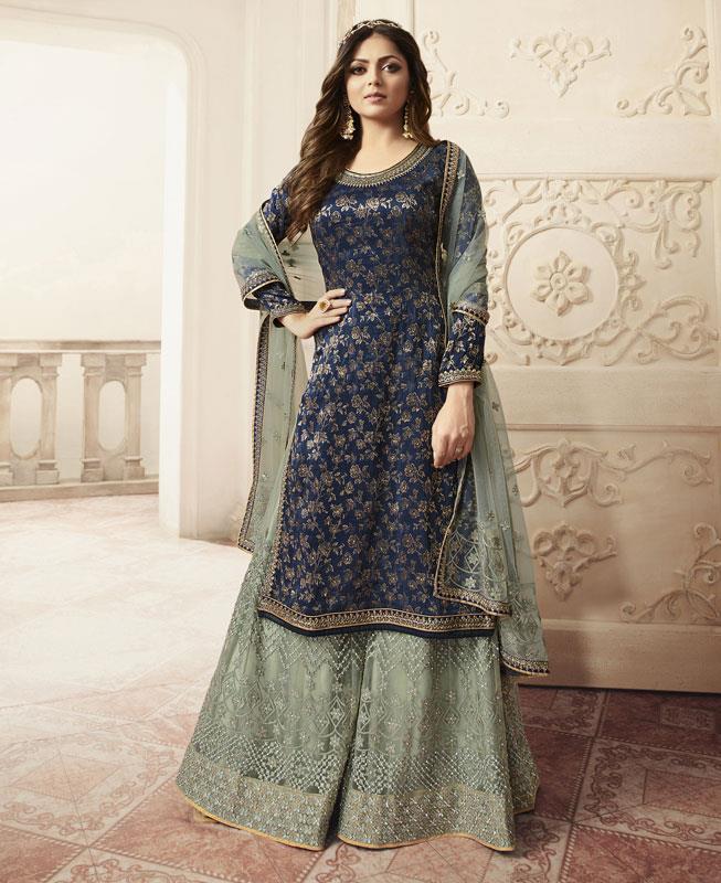 Embroidered Net Straight cut Salwar Kameez in Blue