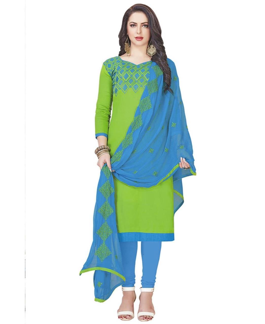 Embroidered Cotton LimeGreen Straight Cut Salwar