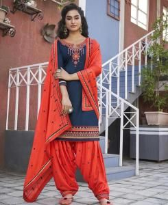 Zari Cotton Patiyala Suit Salwar in Navy Blue