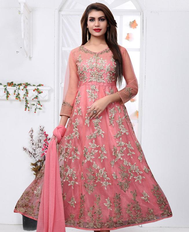 045e681ec69 Embroidered Net PeachPuff Anarkali Salwar