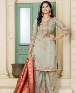 Embroidered Pashmina MINTCREAM Palazzo Suit Salwar