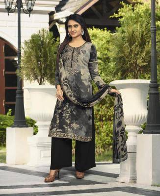 Printed Crepe Black Palazzo Suit Salwar