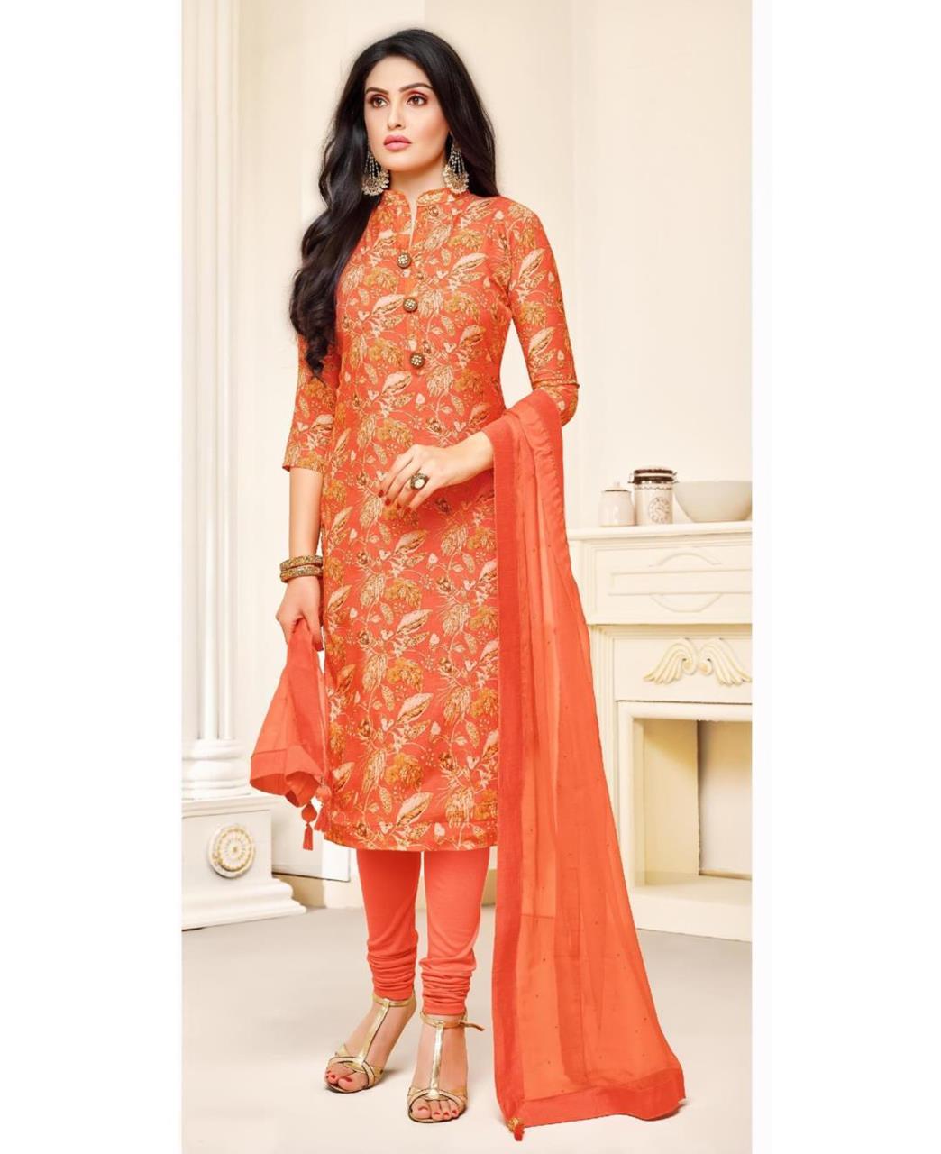 Printed Silk Orange Straight Cut Salwar