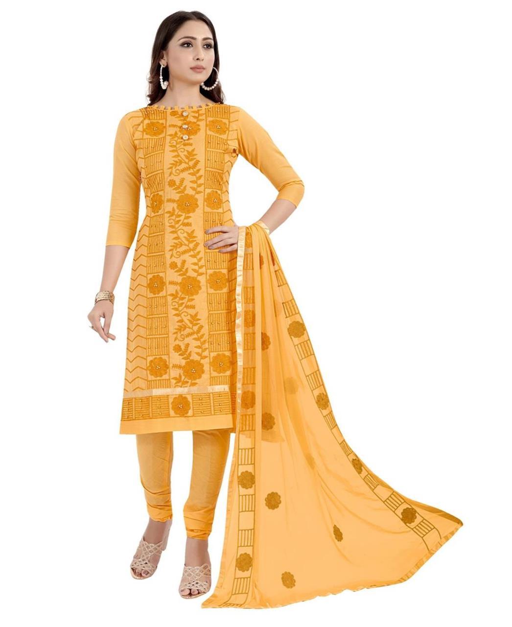 HandWorked Cotton Patiyala Suit Salwar in Yellow