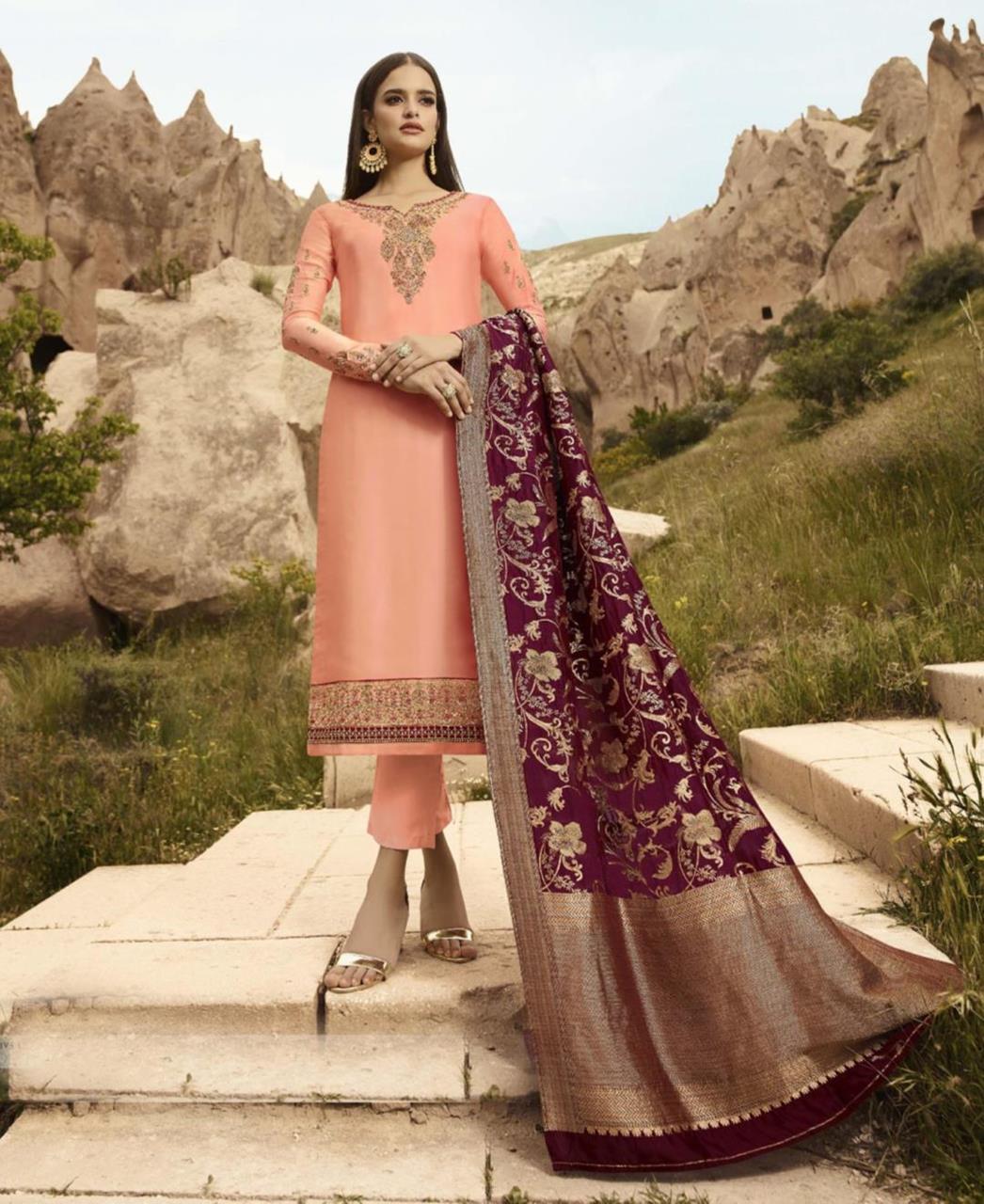 Cord Work Satin PeachPuff Straight Cut Salwar