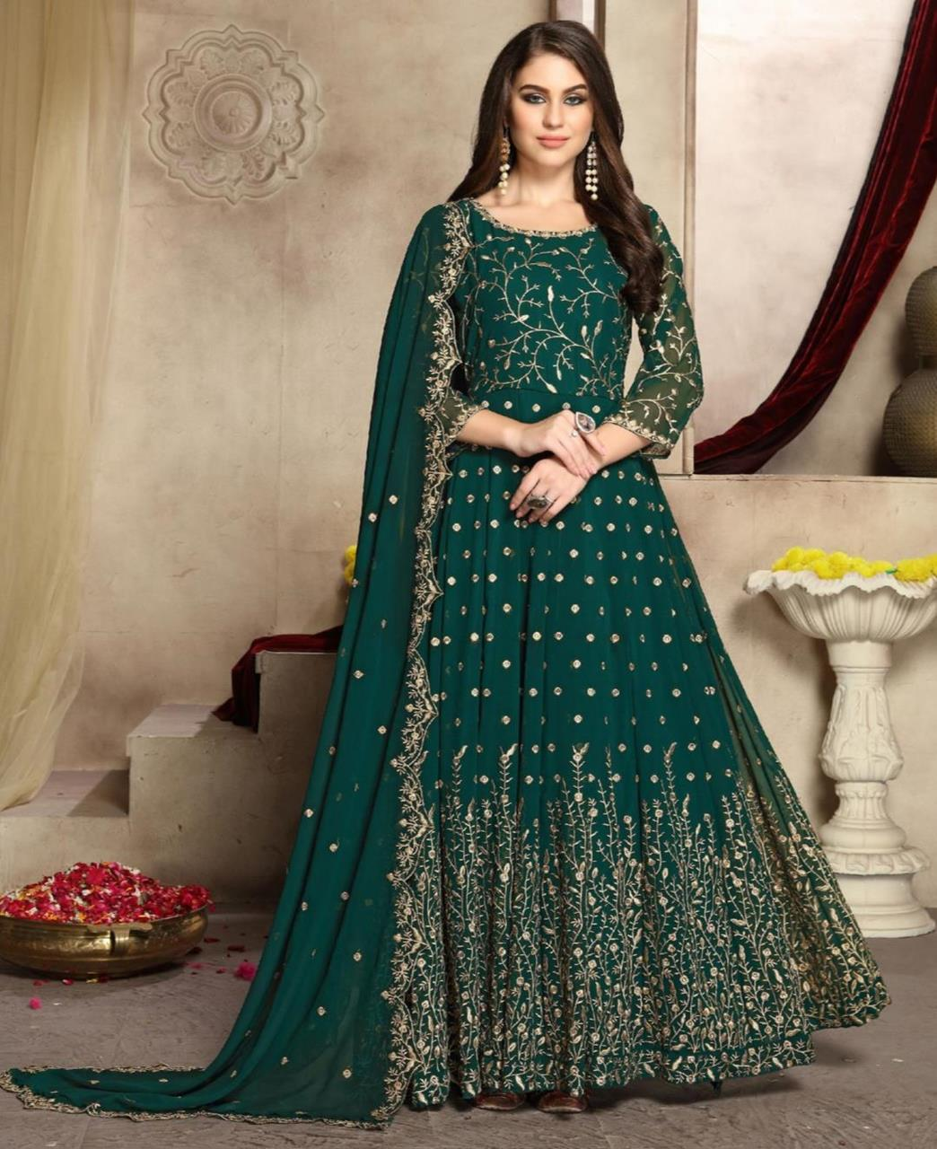Embroidered Georgette Abaya Style Salwar in Rama Green