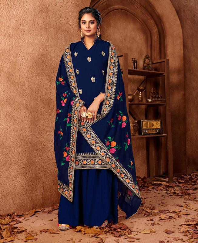 Resham Georgette Straight cut Salwar Kameez in Royal Blue