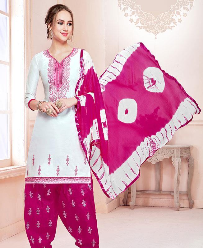 Embroidered Cotton White Patiyala Salwar