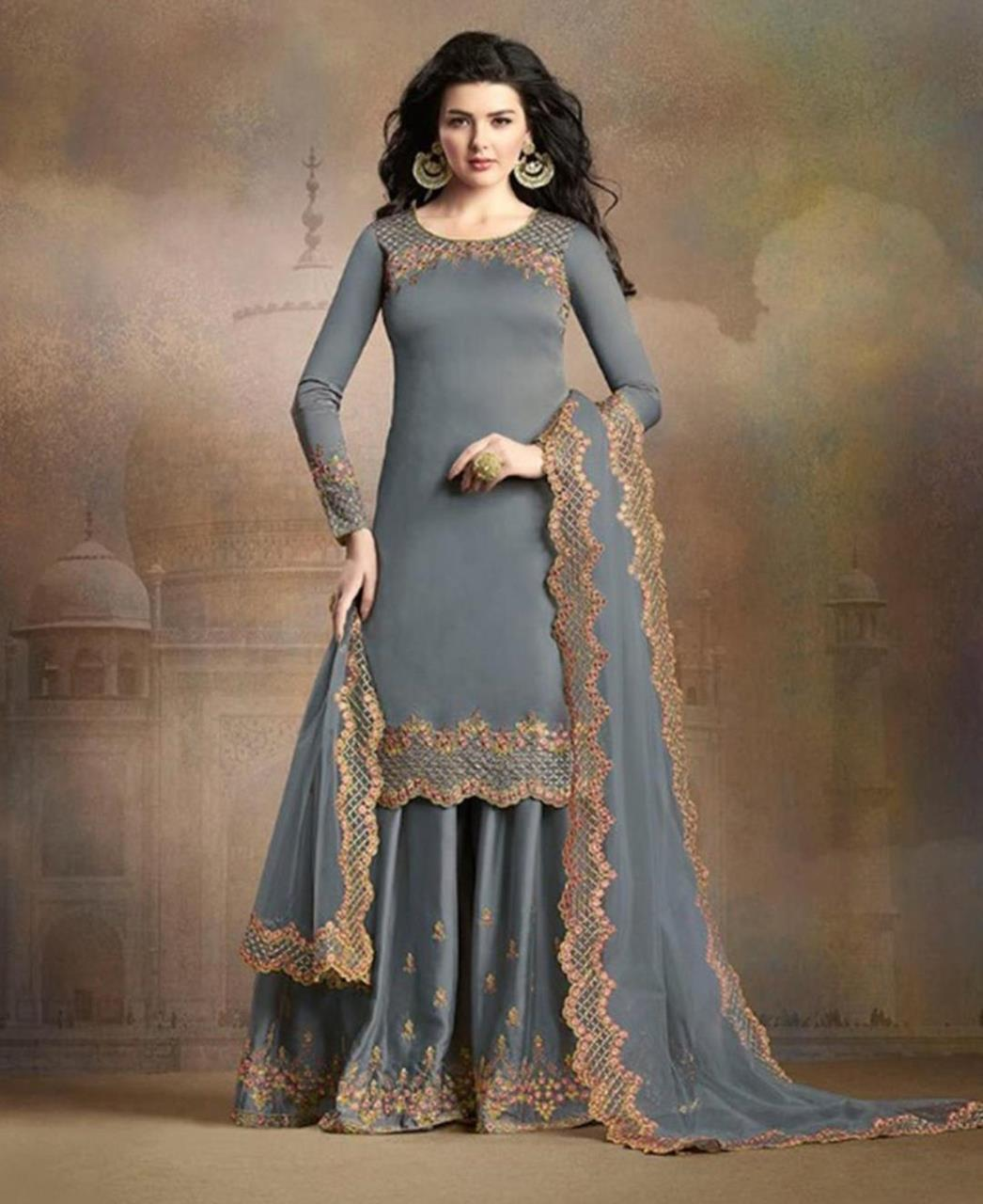 Embroidered Silk Gray Palazzo Suit Salwar