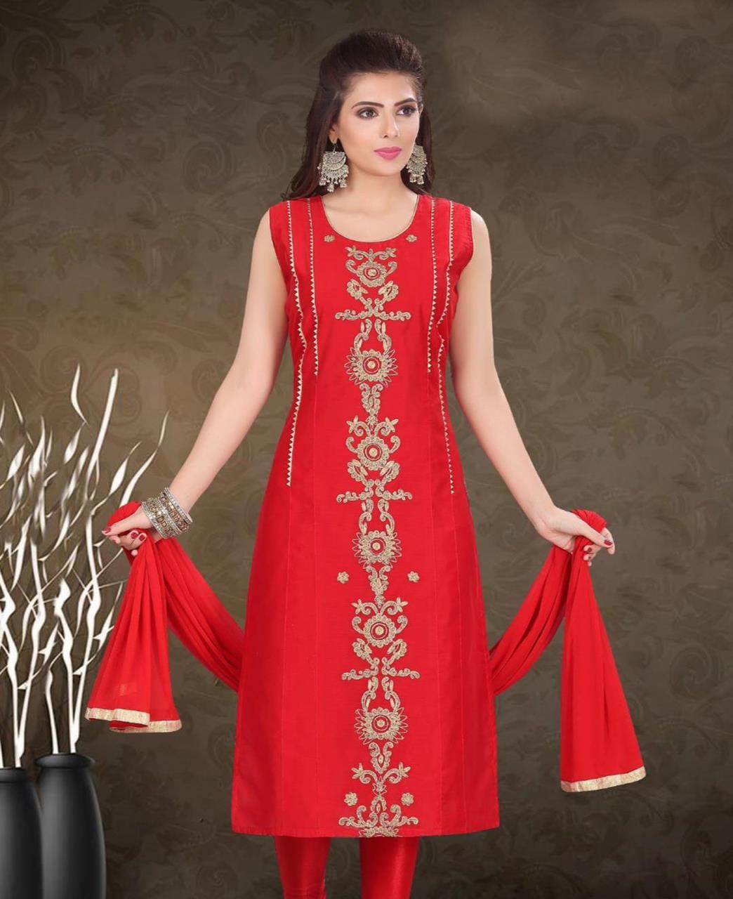 HandWorked Silk Straight cut Salwar Kameez in Red