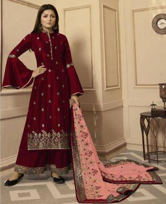 Embroidered Georgette Red Palazzo Suit Salwar