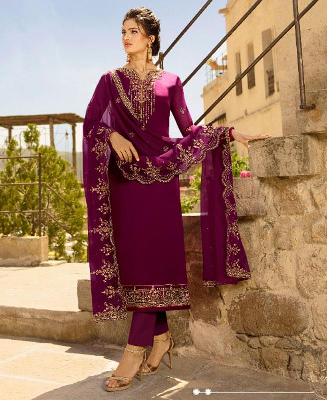 Embroidered Georgette Purple Straight Cut Salwar