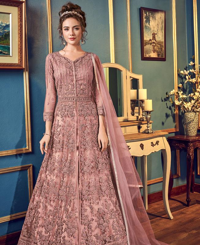 Embroidered Net Abaya Style Salwar in Pink