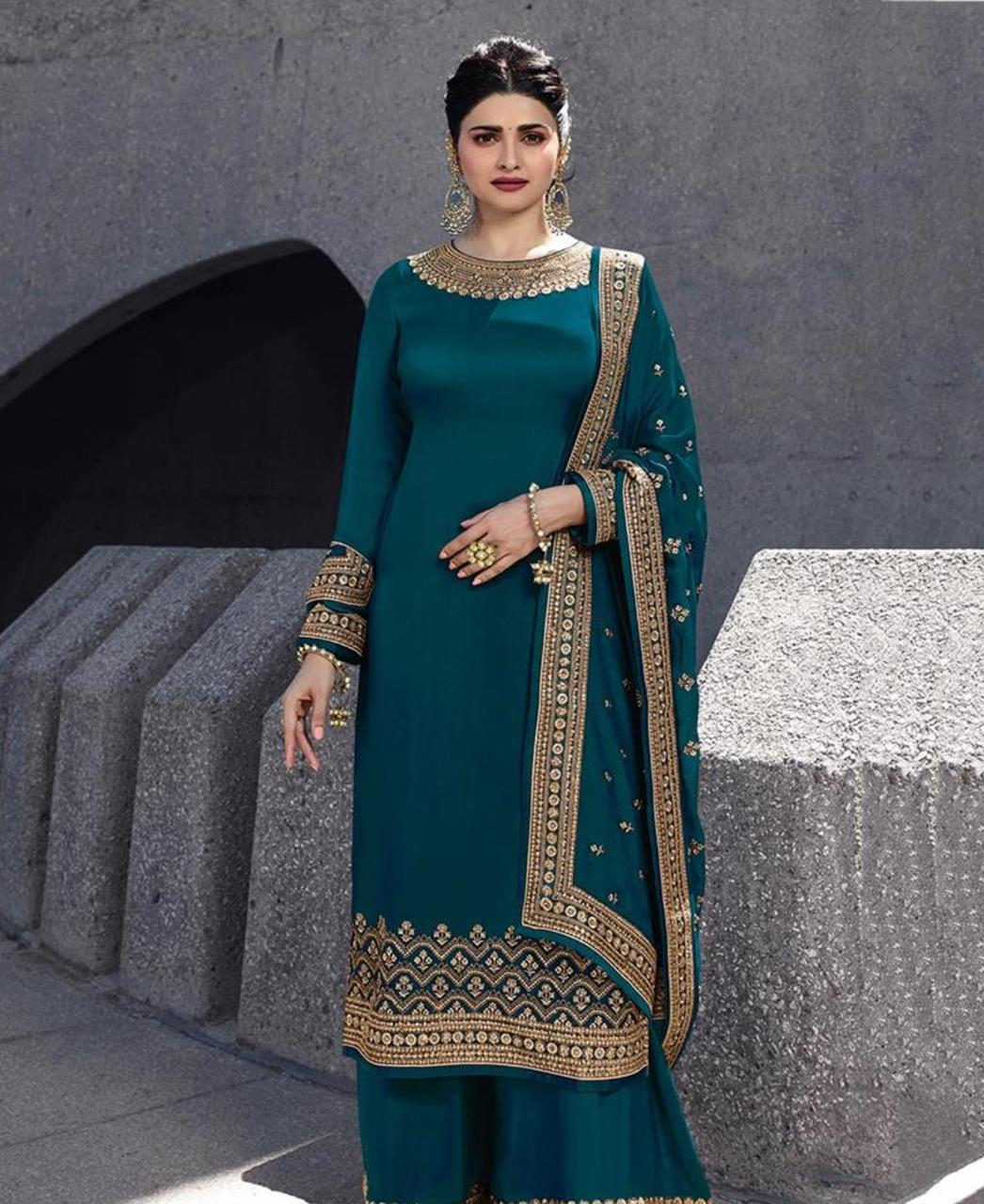 Resham Georgette Straight cut Salwar Kameez in Dark Green