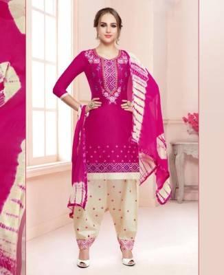 Printed Cotton DEEPPINK Patiyala Salwar Kameez