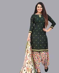 Printed Crepe Patiyala Suit Salwar in Black