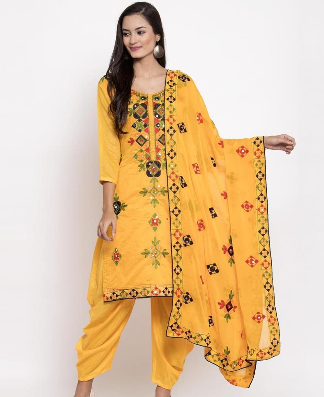 HandWorked Silk Patiyala Suit Salwar in Yellow