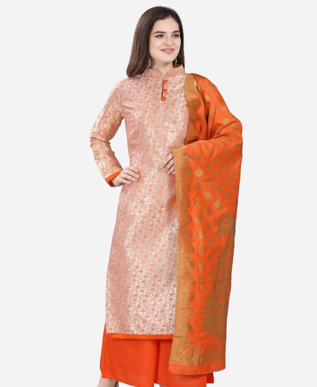 Cotton Straight cut Salwar Kameez in Peach