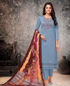 Embroidered Cotton Straight cut Salwar Kameez in Sky