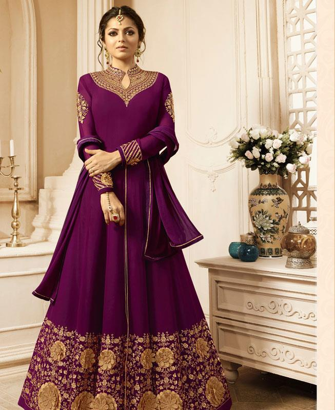 Embroidered Georgette Purple Abaya Style Salwar