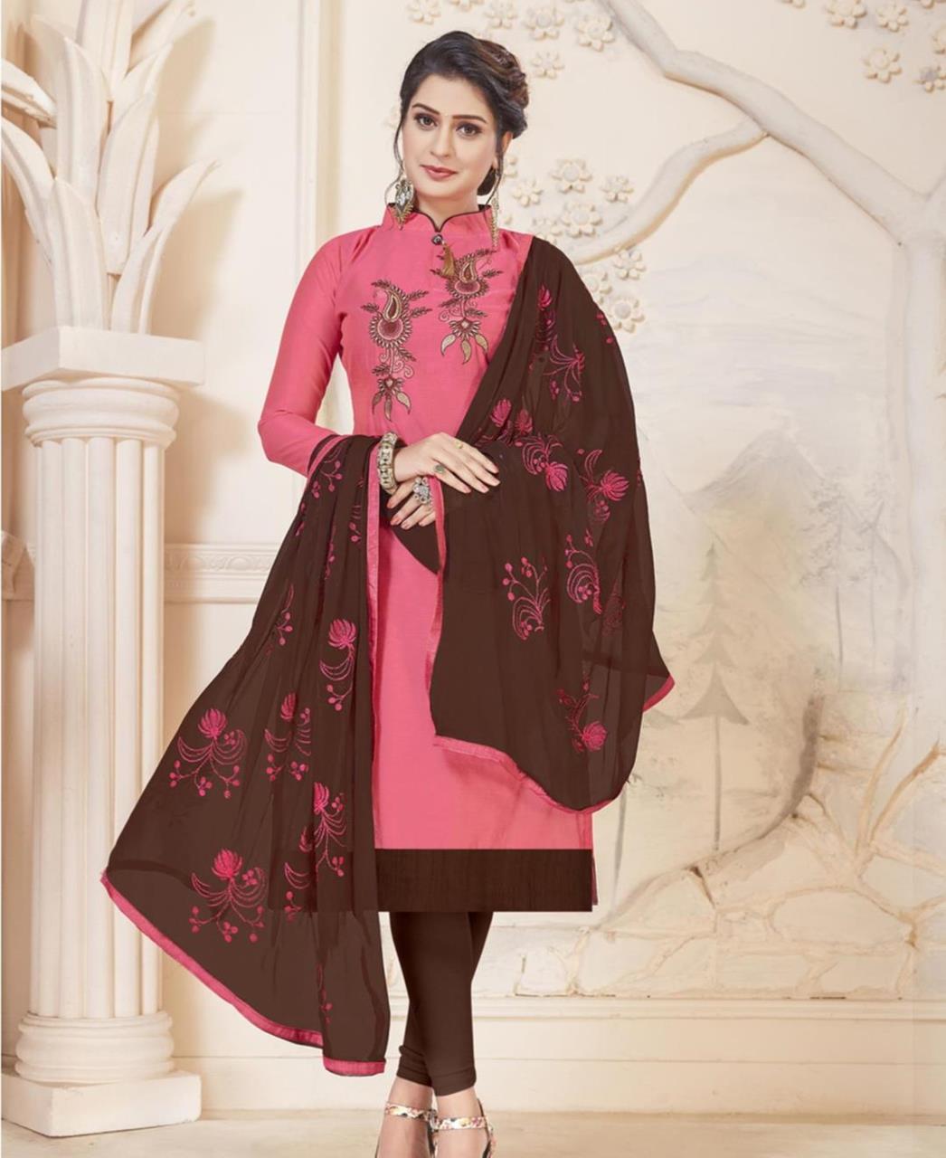 Embroidered Silk Pink Straight Cut Salwar